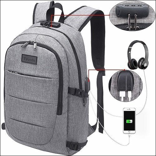 Tzowla Business Laptop Backpack with USB Charging Port and Lock