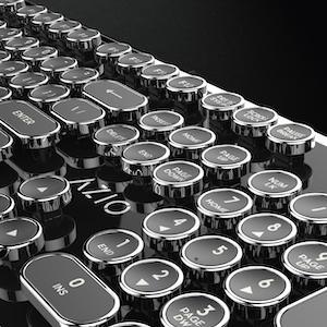 The Azio Retro typewriters keyboard